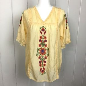 Sundance Yellow Floral Embroidered Ruffle Top - S